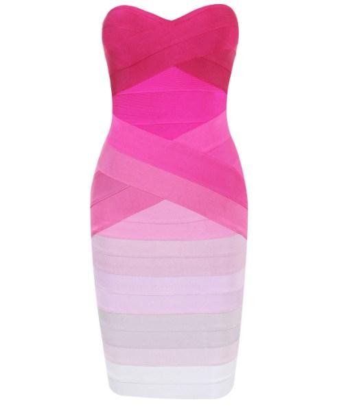 Bandage Bandeau Bodycon Kleid pink ombré