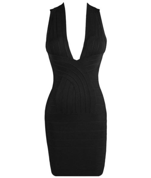 Bandage Bodycon Kleid V- Ausschnitt schwarz