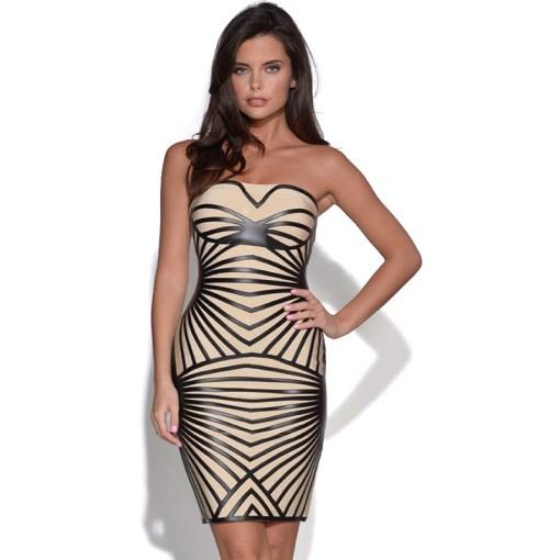 Bandage Bodycon Kleid beige und schwarz