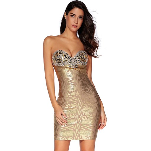 Bandage Bandeau Bodycon Kleid Strass gold