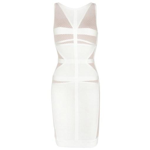 Bandage Bodycon Kleid weiss beige