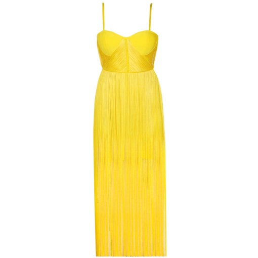 Bandage Fransen Kleid gelb