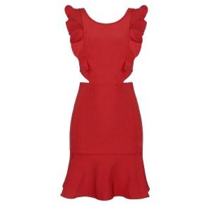Produktfoto Rotes Kleid mit Volants von vorne
