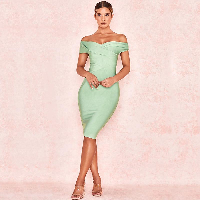 Produktbild Off-Shoulder Kleid mint Ganzkörperaufnahmen