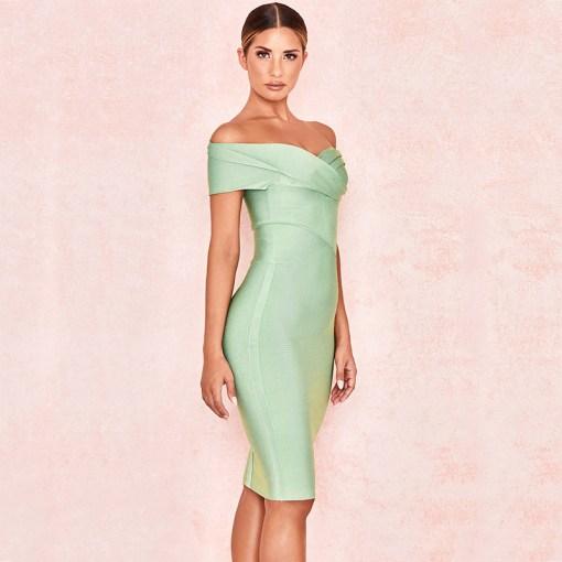 Produktbild Off-Shoulder Kleid mint seitlich