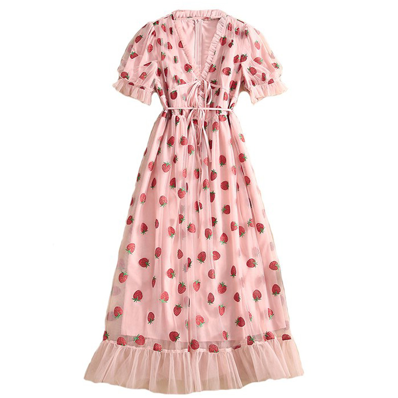 Produktbild rosa Kleid Erdbeeren- Aufnahme von oben