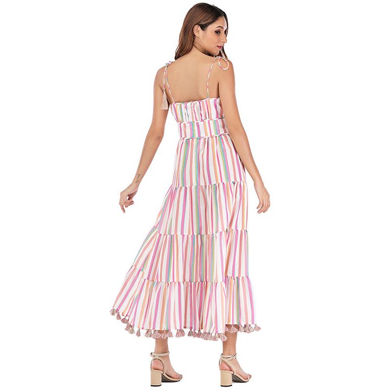 Modelbild Sommerkleid gestreift von hinten