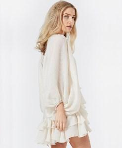Modelbild Rüschenkleid elfenbein weiss seitlich