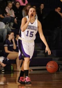 Mary Louise Dixon tallied 32 points in Stonehill College's first round matchup against Franklin Pierce! (Photo Credit: Wellesley Townsman/Wicked Local)