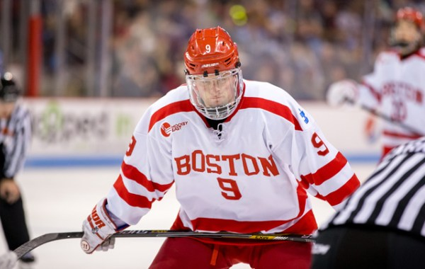 Boston University's Jack Eichel netted a pair of goals on Thursday evening, while registering one assist as the Terriers defeated North Dakota, 5-3. (Photo Credit: CBS Sports)