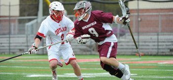 Dylan Sheehan's triple-overtime game-winning gaol helped Springfield defeat Middlebury, 11-10 (3OT) in the first round of the NCAA Tournament. (Photo Credit: Springfield College)