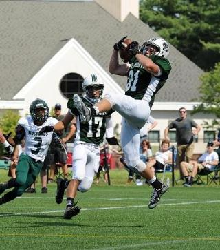 Plymouth State junior Chris Kelly hauled in the go-ahead touchdown to help the Panthers earn their first win on the road against Castleton since 2010. (Photo Credit: Plymouth State Athletics)