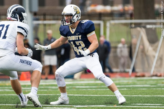 Trinity College senior Spencer Donahue was tabbed this week's NESCAC Defensive Player of the Week following an impressive performance against Middlebury College last Saturday. (Photo Credit: Trinity College Athletics)