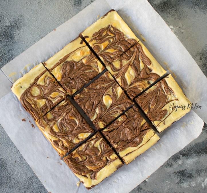 Nutella cream cheese swirl brownies eggless