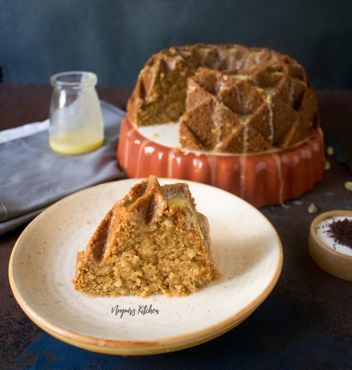 eggless sooji mawa cake semolina khoya rava cake with cashews and saffron glaze