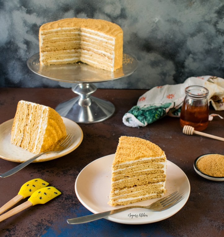 Medovik Russian Honey Cake sour cream frosting