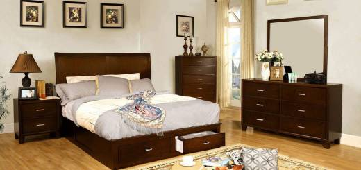 Bedroom Furniture Sets New Enrico Storage Platform Bedroom Set Brown Cherry