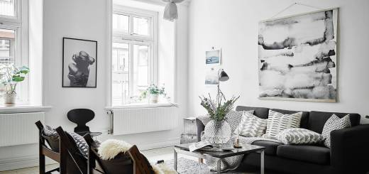 Monochromatic Living Room Elegant Scandinavian Living Room with Oversized Watercolor Art
