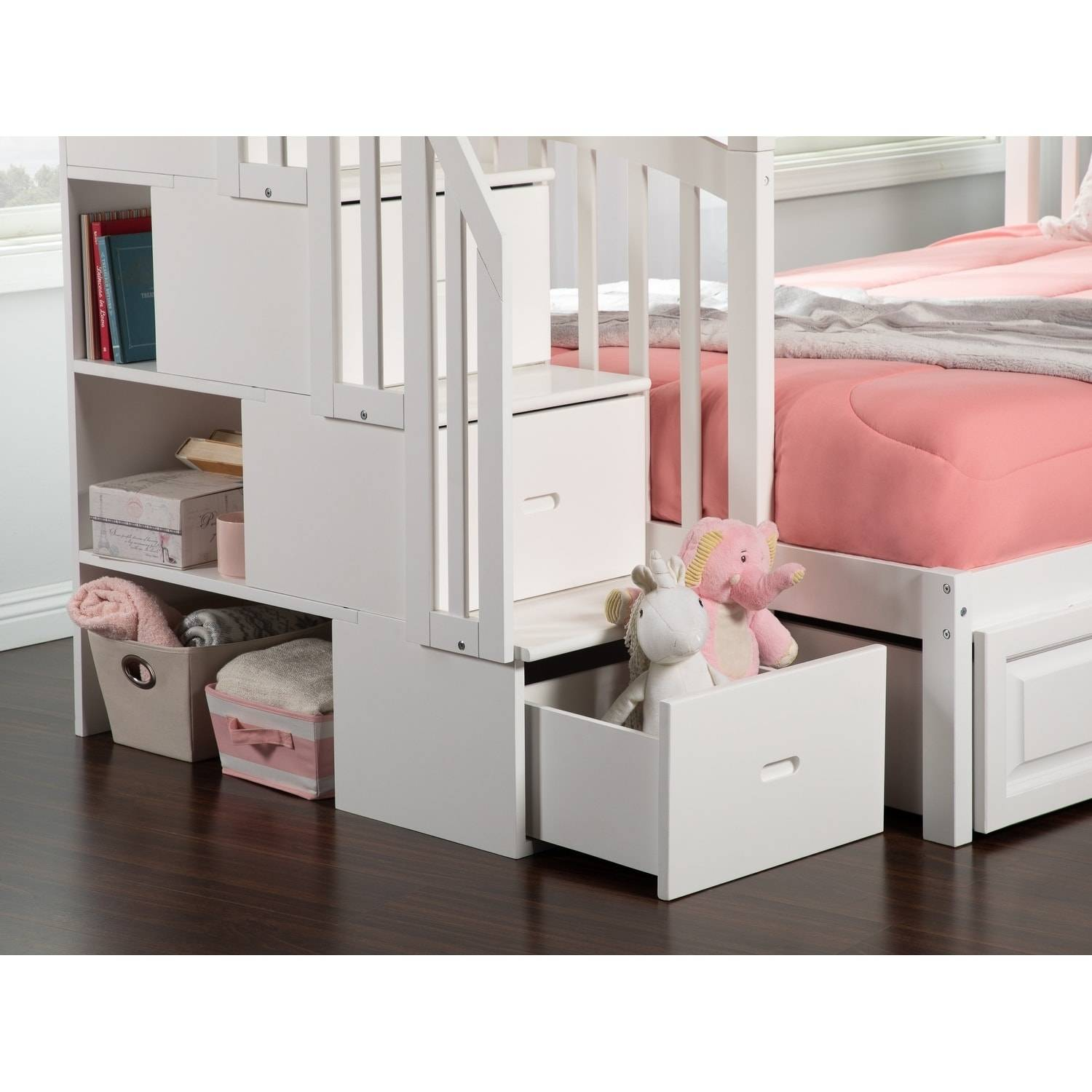 Westbrook Staircase Bunk Twin over Full with 2 Urban Bed Drawers in White ad 584e 4c7d 8b51 fb87d15e9113