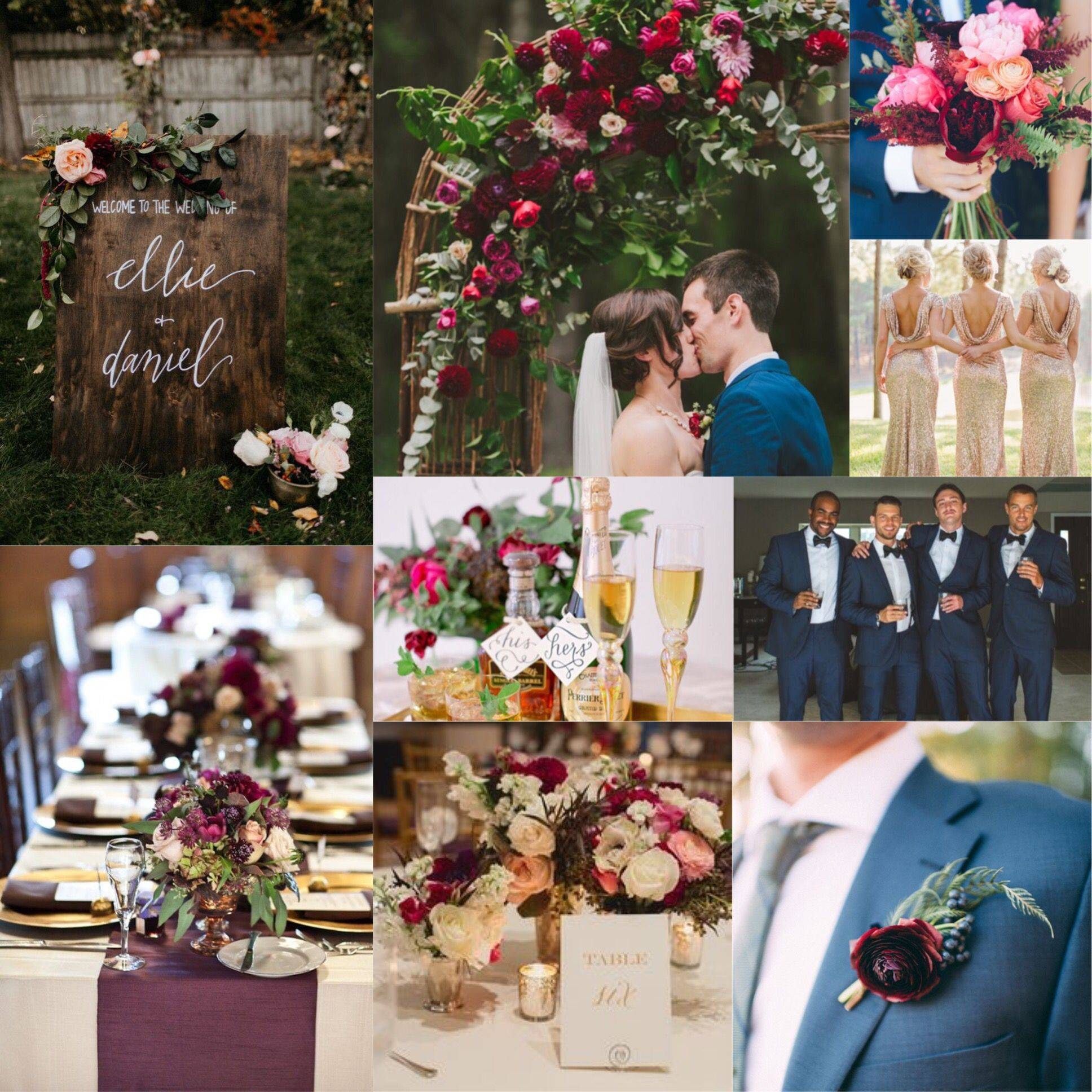 Sangria Wedding Reception Decorations Best Of Burgundy Plum Champagne and Navy Wedding Lots Of Greenery