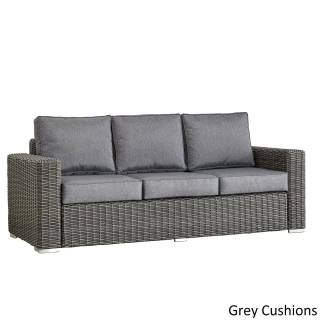 Square Couch Beautiful Barbados Wicker Outdoor Cushioned Grey Charcoal sofa with