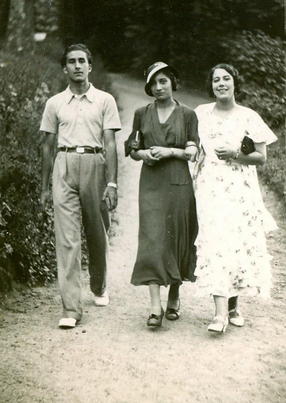 Vilayat, Noor, and friend. 1940, London, UK.