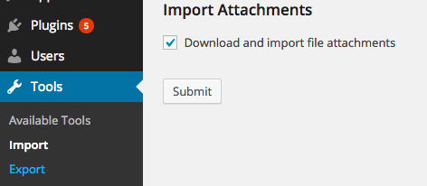 screenshot showing how to import content into WordPress