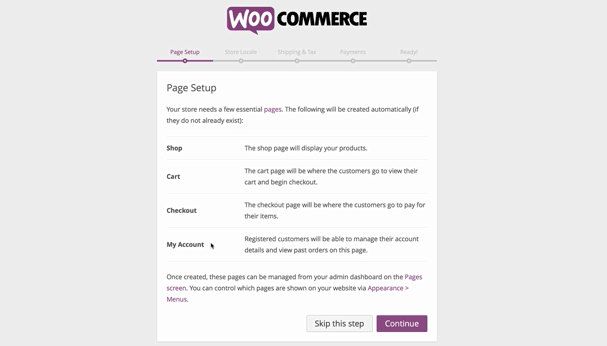 screenshot of WooCommerce page setup screen