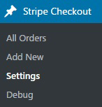 screenshot showing the setting menu of the Stripe checkout plugin