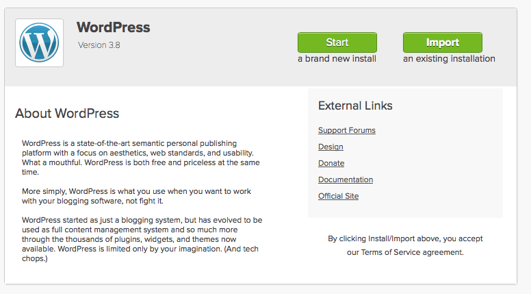 screenshot showing the start page for the WordPress installation on mojo marketplace