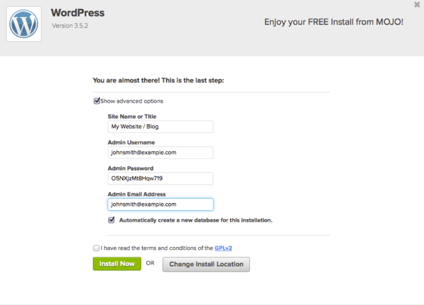 screenshot of WordPress installation on bluehost