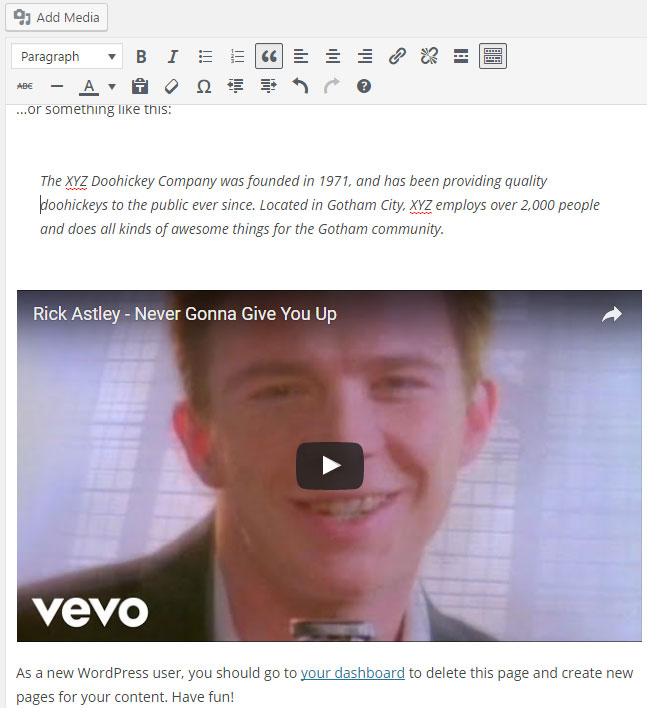 screenshot showing a preview of the embedded YouTube video in the WordPress post/page editor