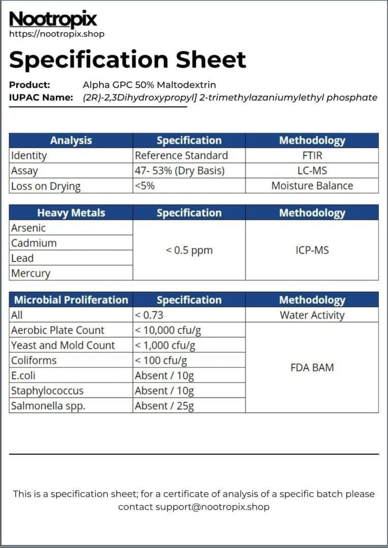 Alpha GPC Specification Sheet for Nootropix Dubai UAE