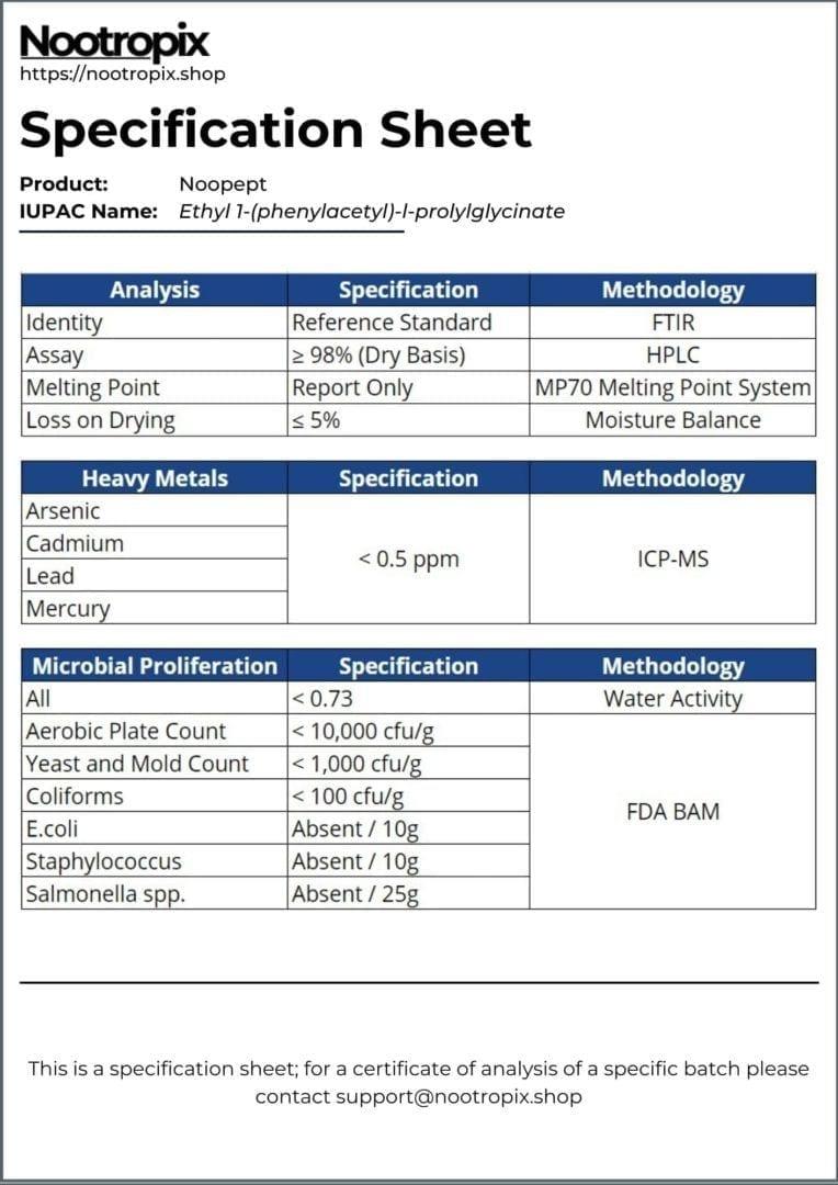 Noopept Specification Sheet for Nootropix Dubai UAE