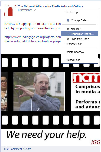reposition pic on facebook page for more interaction