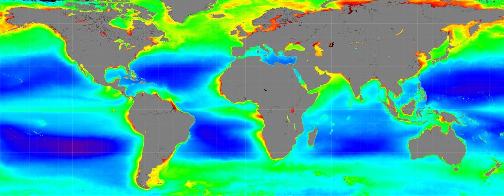 Ocean temperature and acidification is shown in this NASA image.