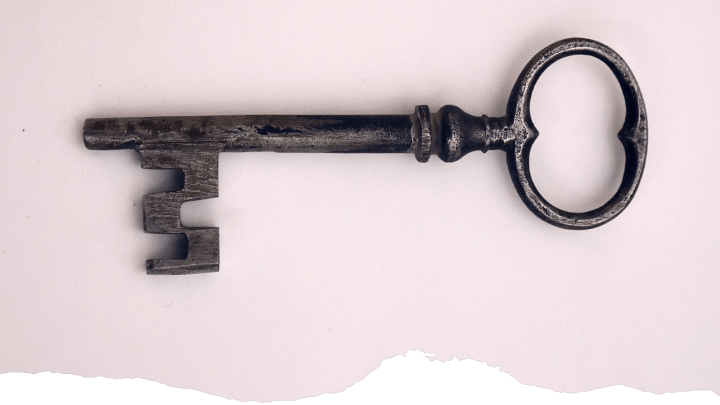 An antique skeleton key is shown to demonstrate the ease of the organic traffic to email nurture marketing strategy.