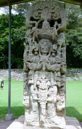 A stelae in the Grand Plaza - Copan Mayan Ruins