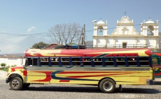 A chicken bus in transit - Antigua