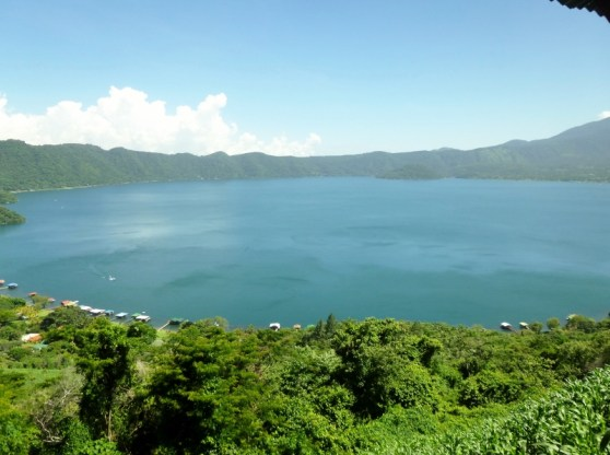 Lago Coatepeque -lake is in a volcano crater