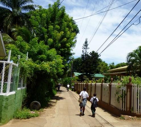 School kids heading home - Utila