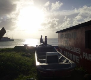 3 kids and a setting sun - Big Corn Island