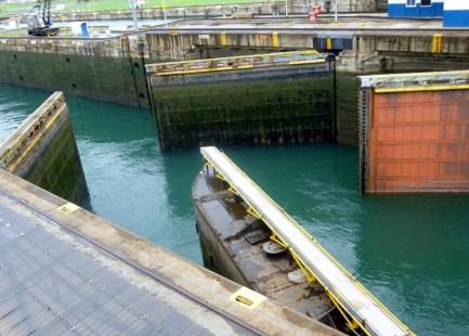 Lock gates opening - Panama Canal
