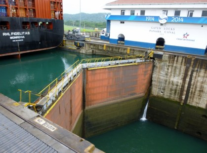Lock gates closed - note the different water levels - Panama Canal