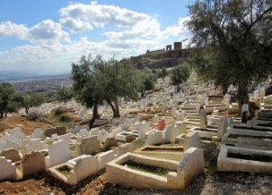 old cemetery overlooking the Medina of Fez, Morocco.