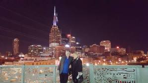 My parents in front of the Nashville skyline