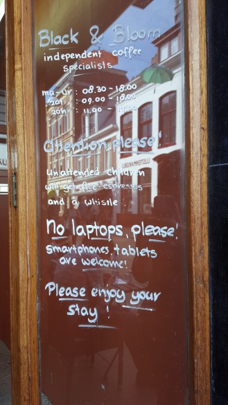 This was not in the Hague, but in Groningen, and it is a good example of what we've seen all over this country. Signs in English.