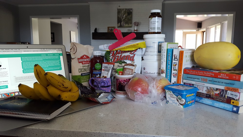 Many of the tools I'm using on this health journey - TalkSpace, Whole30-compliant foods; gut health supplements; books about food; travel memoirs.