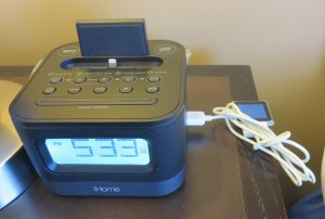 iPod dock = good Power by bed = good