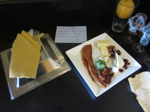 Bacon and cheese.  Plus a note from Joe.